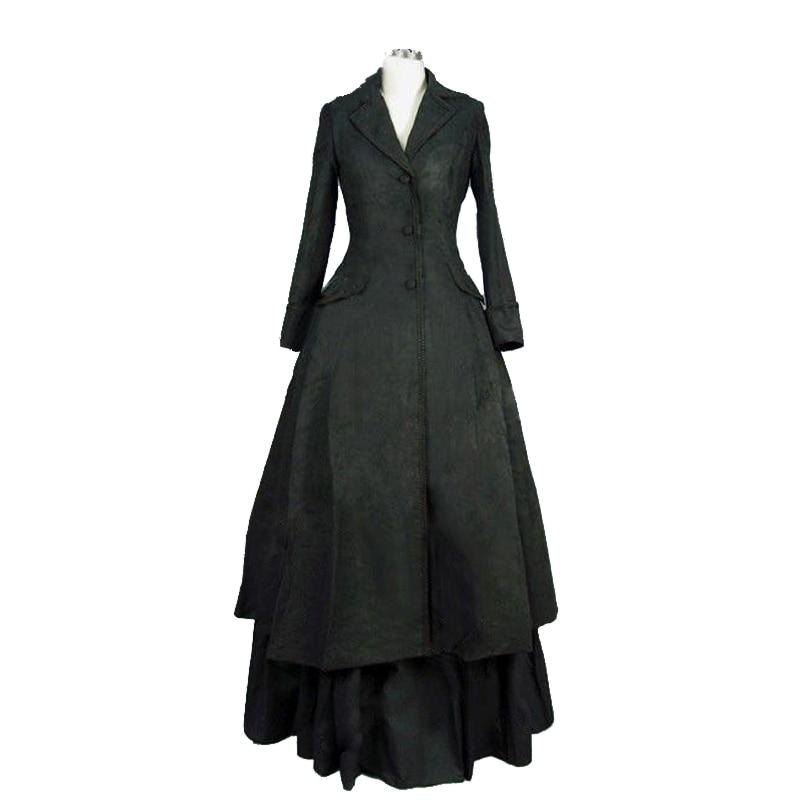 Belle Poque Victorian Medieval Dress Long Sleeve Maxi Dresses 2018 Cotton Vintage Gowns Punk Women Christmas Long Gothic Dress Exquisite Workmanship In