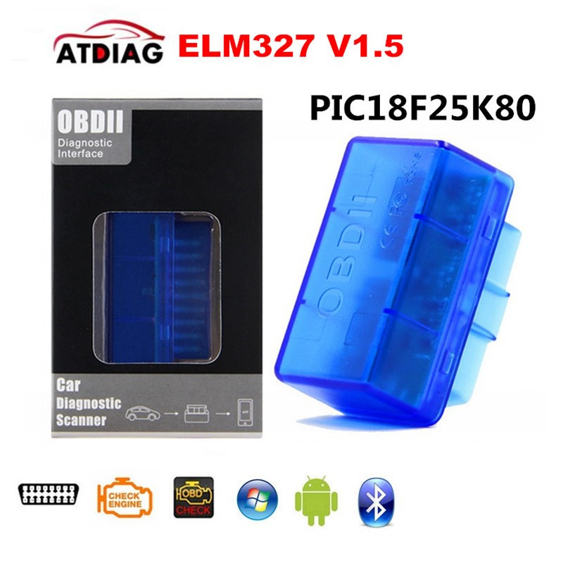obd obd2 Hardware V1.5 PIC18F25K80 ELM327 Bluetooth Auto Diagnostic Scanner Works Multi-Brand Cars 10pcs/lot(China)
