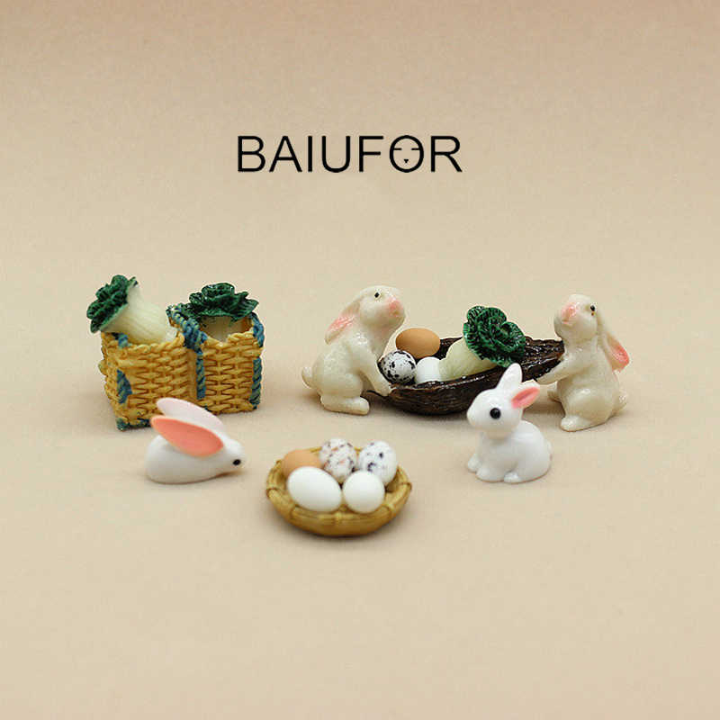 BAIUFOR Miniatures Terrariums Animals Mini Rabbits Cabbages Basket Fairy Garden Miniature Succulents Desktop Decor Resin Craft