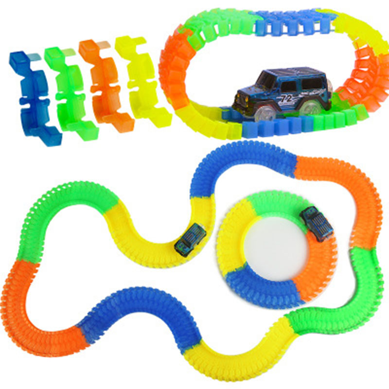 Glow Racing Glowing Race Track 560pcs Track + 2 Cars Bend Flex Electronic Rail Glow Race Car DIY Toy Roller Coaster Toy For Kids
