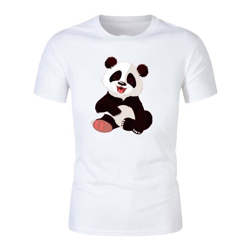 O neck Tshirt tops tee men's T-Shirt Summer fashion High Quality  Panda  shirt casual white print male top tees