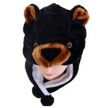 Douchow унисекс для взрослых подростков дети мультфильм животных шляпа милый черный медведь плюшевые зимние теплые кепки для мальчиков девочек женщин косплей шапочки