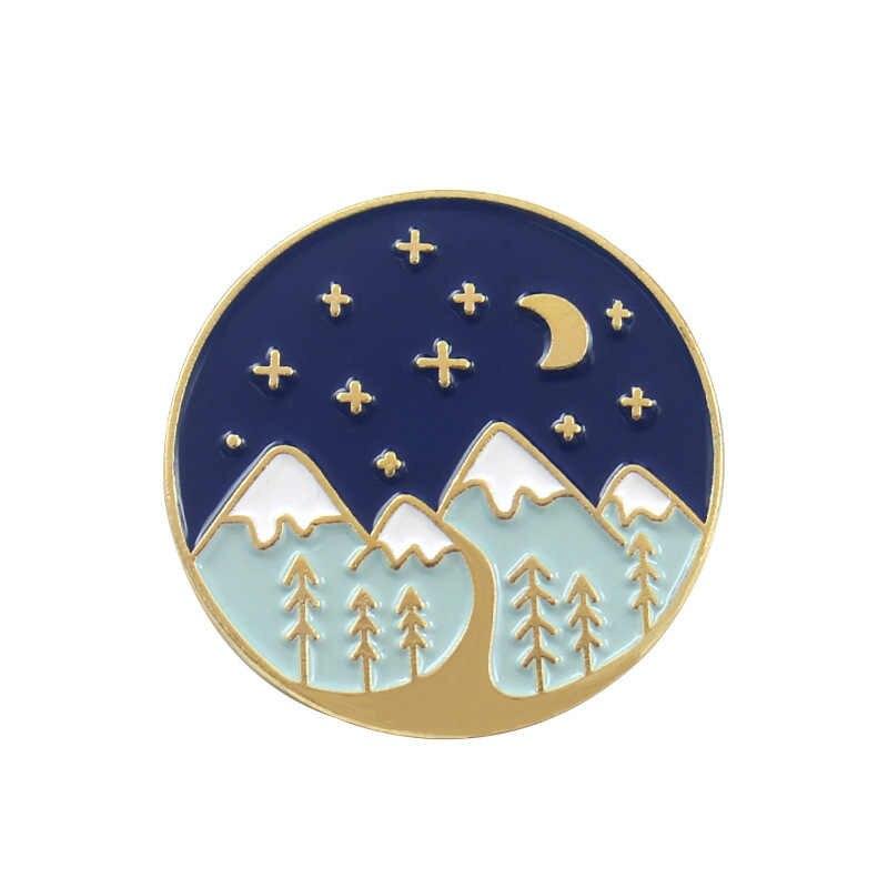 Panas Gunung Salju Enamel Emas Perak Starry Malam Bulan Lencana Bros Kerah Pin Denim Kemeja Jeans Tas Alam Perhiasan hadiah