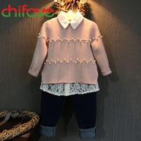 2015 Korean Fashion Girls Sweater Pink Color Girls Winter Autumn Warm Pearls Decoration Children Girls Sweater