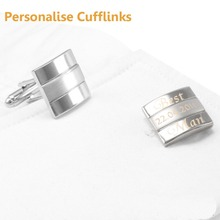 Customized Wedding Anniversary Cufflinks Laser Engraved Name Record Classic Personalized Cuff links for Men SAVOYSHI Jewelry DIY