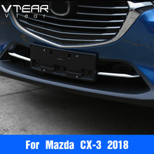 Vtear для Mazda CX-3 CX3 2017 2018 2019 аксессуары автомобилей Передняя решетка гриль Нижняя крышка Накладка кузова ABS хром матовый