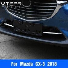 Vtear для Mazda CX-3 CX3 2018 2019 аксессуары автомобилей Передняя решетка гриль Нижняя крышка Накладка кузова ABS хром матовый