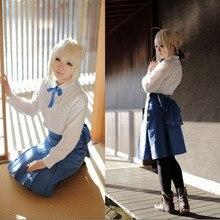Fate/stay night Saber Fate/Zero Altria Pendragon Cosplay Lolita Uniforme Escolar Muchachas Ocasionales Outwear