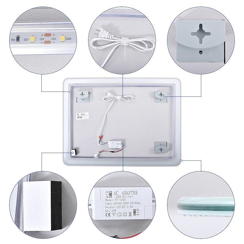 Glamo LED Mirro CTL305 Wall-mounted Led Bathroom Mirror Intelligent HD Bath Mirror Explosion proof Anti-fog Mirror White/Warm light 110V/220V 4