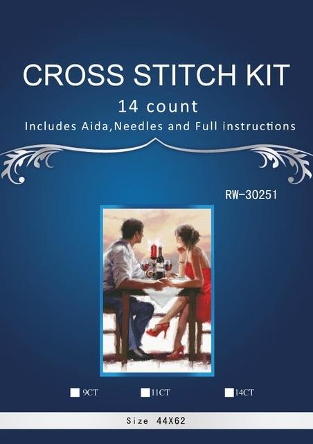 The lovers coffee  Handmade Needlework Counted Cross Stitch Set Embroidery Kits 14CT Pattern Cross-Stitching Decoratin
