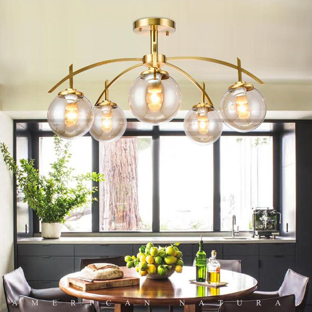 Américain De Cuivre Salon Plafond Lampe Nordique Moderne Simple ...