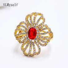 Luxury Hollow Line design Ring Gold-color Red Stone Jewellery Cubic Zirconia Beautiful Jewelry Large rings for women цена и фото