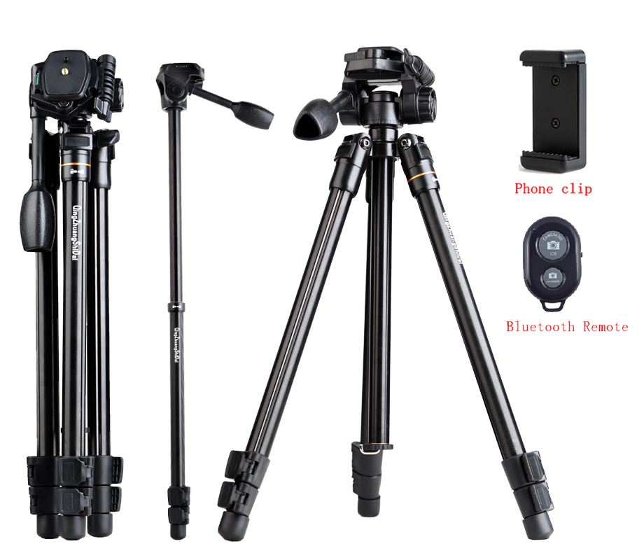 Professional video tripod for phone 5kg load action camera accessories tripod photo panhead digital dslr tripe w clip & remote