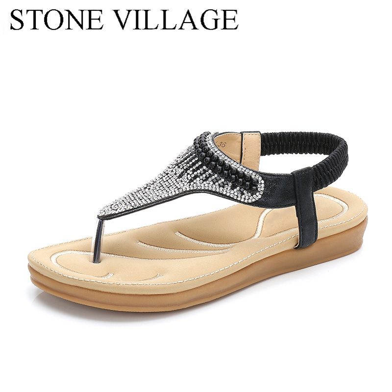 b201a5bd0d33 2018 Summer Shoes Bohemian Rhinestone Flat Sandals Women Open Toe Casual Women  Shoes Ankle Strap Gladiator Sandals Female
