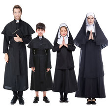 Umorden Halloween Easter Adult Children Kids Nun Virgin Mary Costume for Women Priest Costumes Men Fancy Cosplay Family