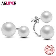 Aglover 9 мм Серьги с жемчугом 925 серебро Для женщин естественный