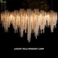 Post современная Италия поток алюминий цепи подвесной светильник Led Villa Hotel Chrome золотой блеск кисточкой подвесной светильник