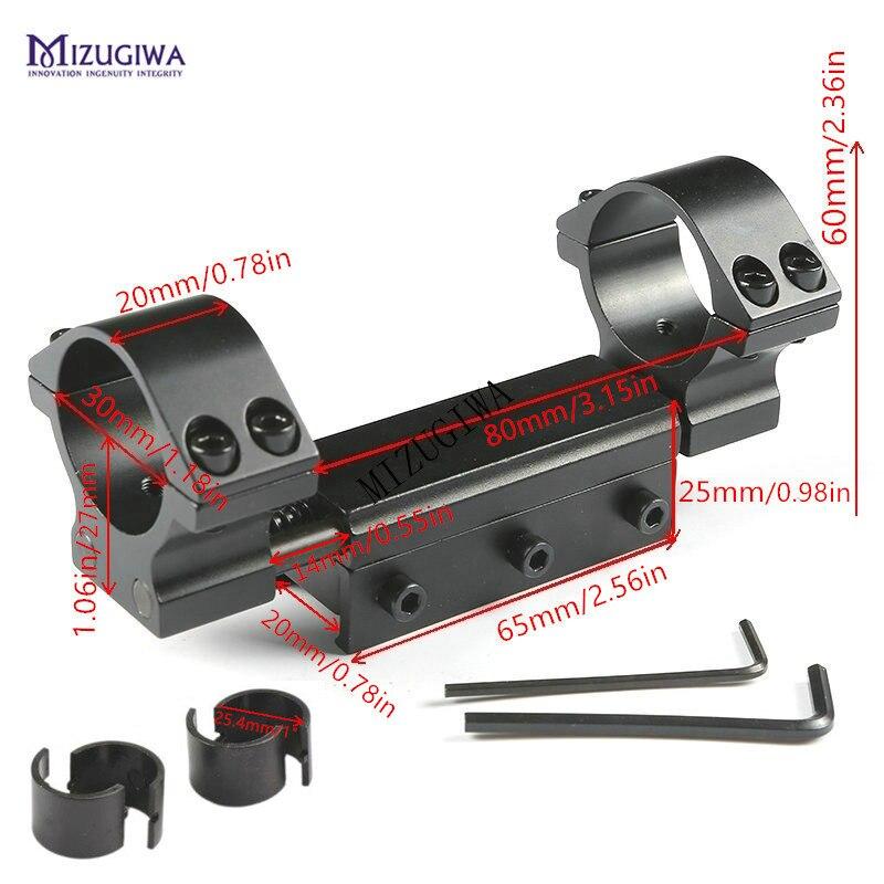 """Support de portée 25.4mm 1 """"/30mm double anneaux à dessus plat avec adaptateur de broche d'arrêt 11mm/20mm Picatiiny Rail queue d'aronde tisserand fusil à air comprimé"""