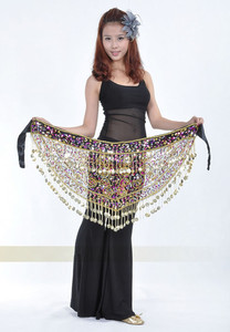 Image 3 - High grade Belly dance costume clothes indian dance belt waist chain hip scarf women girl dance with 158 coins B 004