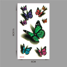 10 Pieces In 500 Types Waterproof Temporary Fake Flash Tattoo Tatoo Henna Stickers Taty Tatto 3D Butterfly WM249-10PC