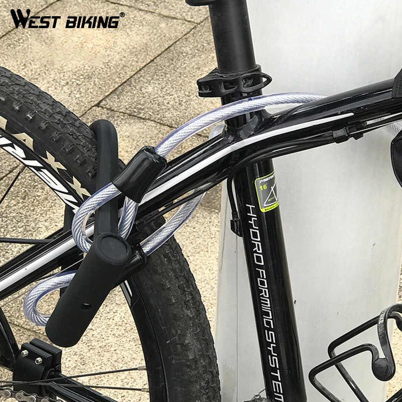 West Bersepeda Keselamatan Sepeda U Kunci Baja MTB ROAD Sepeda Sepeda Kunci Kabel Anti-Theft Tugas Berat Lock Set bersepeda U Kunci dengan Kabel