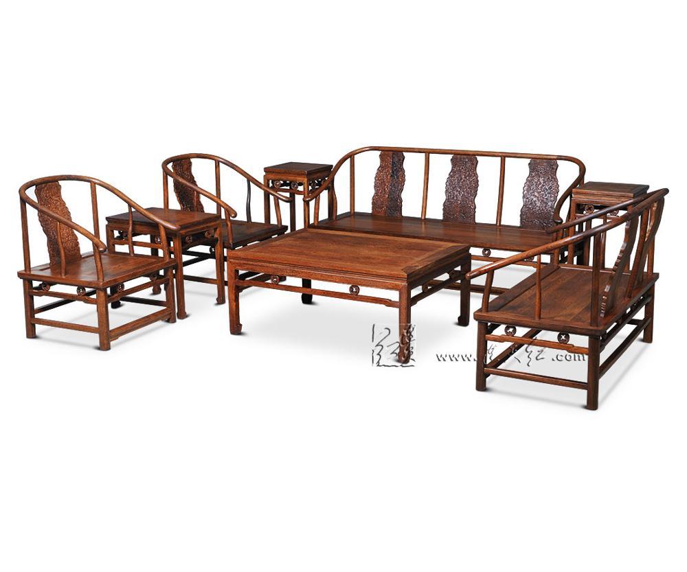 1+ 3 сиденья 6 шт. тройной набор стульев китай Королевский палисандр мебель гостиная твердой древесины диван-кровать костюм красный из сандалового дерева чайная столик - Цвет: 8 Pieces Chair Set