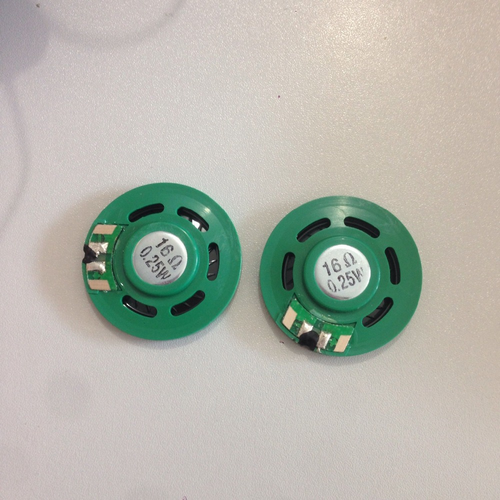 2Pcs 0.25W 16 Ohm 35mm Round Green Plastic Magnet Electronic Speaker Loudspeaker