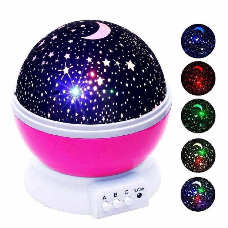 Novedad luminosa juguetes romántico cielo estrellado de luz LED batería proyector USB noche luz cumpleaños creativo juguetes para niños