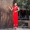 Chinese traditional dress bride wedding Qipao long cheongsam red slim embroidery retro Daily cheongsam women antique dresses