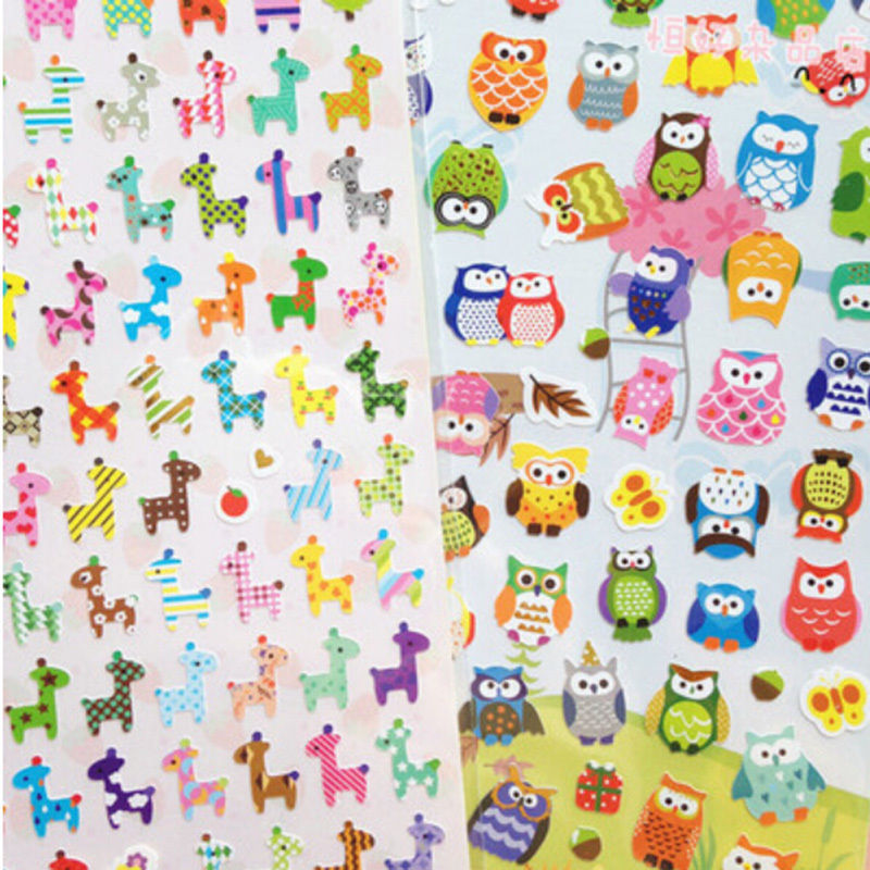 Wholesale Owl Giraffe Print Toys Sticker Cute Drawing Market Diary Transparent Scrapbooking Calendar Album Deco Sticker Hot Sale
