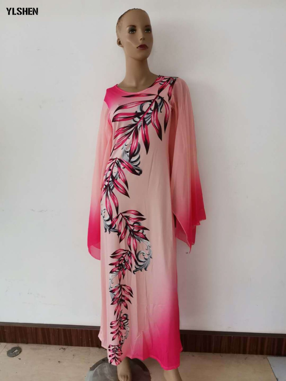 New African Dresses for Women Dashiki Print African Clothes Bazin Riche Sexy Slim Ruffle Sleeve Long Africa Maxi Dress Woman 05