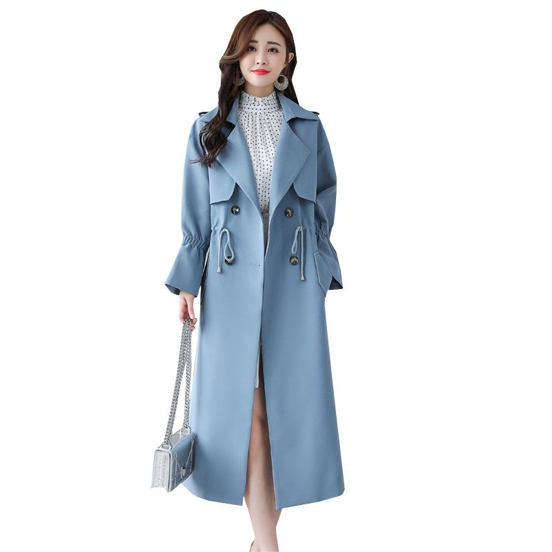 Autumn Women Coat Office Lady Style Long Sleeve Casual   Trench   Coat Overcoat Female Adjustable Waist Slim Outwear Plus Size O567