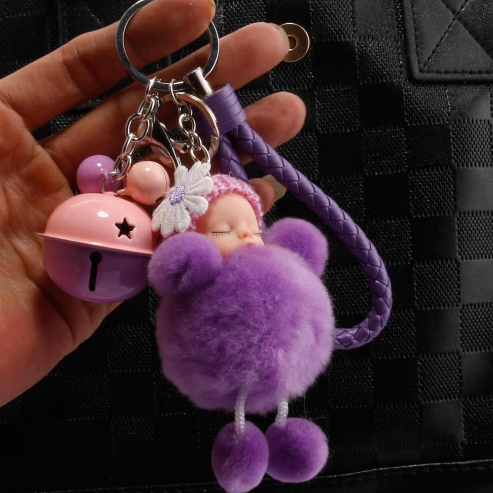 Mais novo Com Sinos de dormir baby doll Keychain Pom Pom Porte Clef Saco Anel Chave Do Carro Dos Desenhos Animados chaveiro Bola de Pêlo chaveiro Dom Mulheres