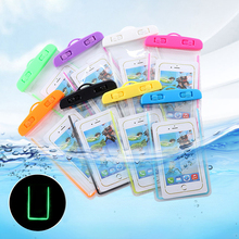 Universal Waterproof Phone Case Bag Pouch Luminous Transparent Underwater Diving Dry for iPhone X 8 7 Plus Samsun