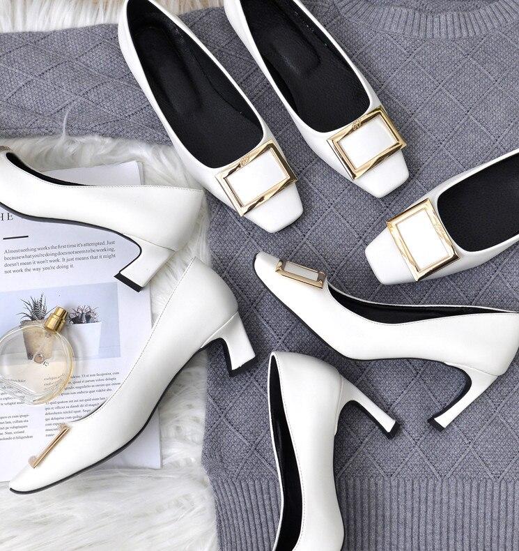 as Classique De Sur Chunky Pic Cuir Véritable Slip Printemps Chaussures Travail As Simples En Pic Bureau Femmes Talon Dames Nouveau Style ZHOwWXtnq