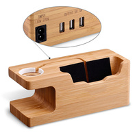 2016 3 USB Ports Bamboo Wood Charger AC Power Adapter Charging Dock Station Stand Holder For