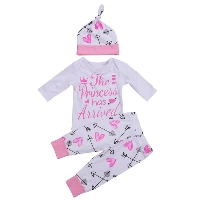 Autumn Baby Girls Clothing Set Newbron Infant Girls Set Arrows Printed Pink Baby Clothes 0-24Months