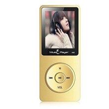 Ultrafino 8 GB Reproductor de MP3 con Altavoz de 1.8 Pulgadas de Pantalla Puede Jugar 80 horas Original IQQ X02 con FM Radio E-Book Reloj de Datos oro