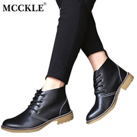 MCCKLE Womens Fashion Genuine Leather Short Boots Classical Women Lace Up Ankle Martin Boots Ladies Sewing