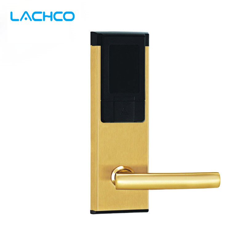 LACHCO Smart Electronic RFID Card Door Lock Digital Card with Key For Office Apartment Hotel Home Latch with Deadbolt L16061SG high class digital electronic rfid card hotel door handle locks with master card key options et820rf