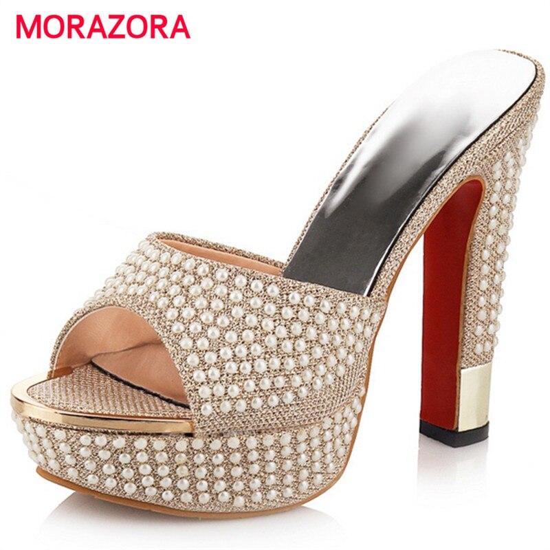 MORAZORA Big size 34 42 Ultra high with shoes 13cm woman summer platform sandals women shoes