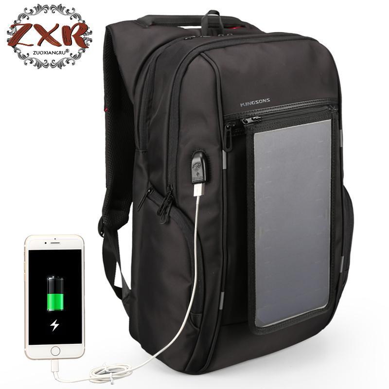 Mini 15.6 pouces solaire Anti-vol sac à dos hommes femmes Usb charge ordinateur portable sacs pour adolescent garçons filles voyage sac à dos sacs