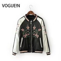 VOGUE!N New Womens Contrast Sleeve Floral Peacock Embroidery Flight Sukajan Bomber Jacket Coat