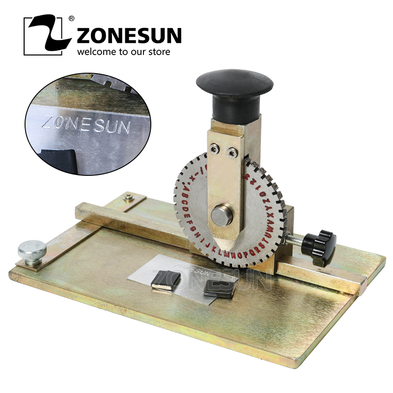 ZONESUN Manual Metal Stamping Marking Machine Deboss Embossing Machine Dog Tag Metal Plate Stamping Embosser 6mm Letter Printing