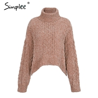 Simplee Turtleneck Knitted Winter Sweater Women Female Long Sleeve Chic Jumper Pull Femme Winter Warm Christmas