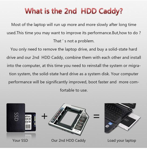 """Sunvalley Optibay 2nd HDD Caddy de aluminio de 9,5mm Universal SATA 3,0 de 2,5 """"SSD caso de adaptador de disco duro DVD HDD para portátil extraño"""