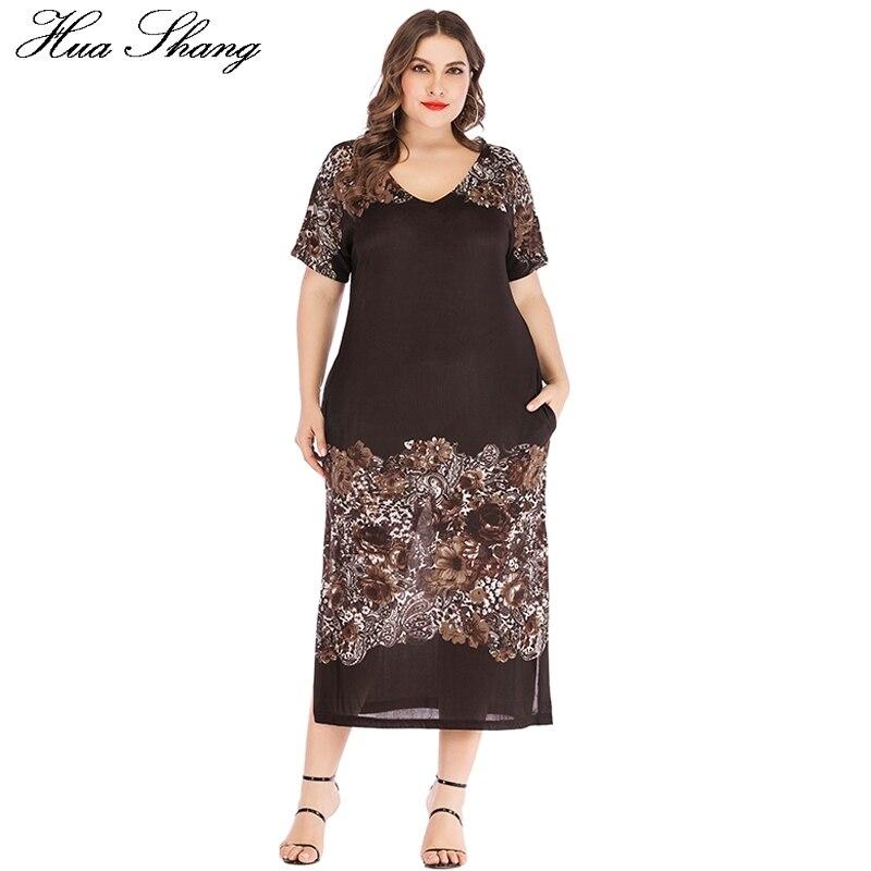 Dress Women Plus Size 5xl 6xl 2019 Summer V Neck Short Sleeve Floral Print Vintage Dress Pockets Side Split Ladies Tunic Dresses