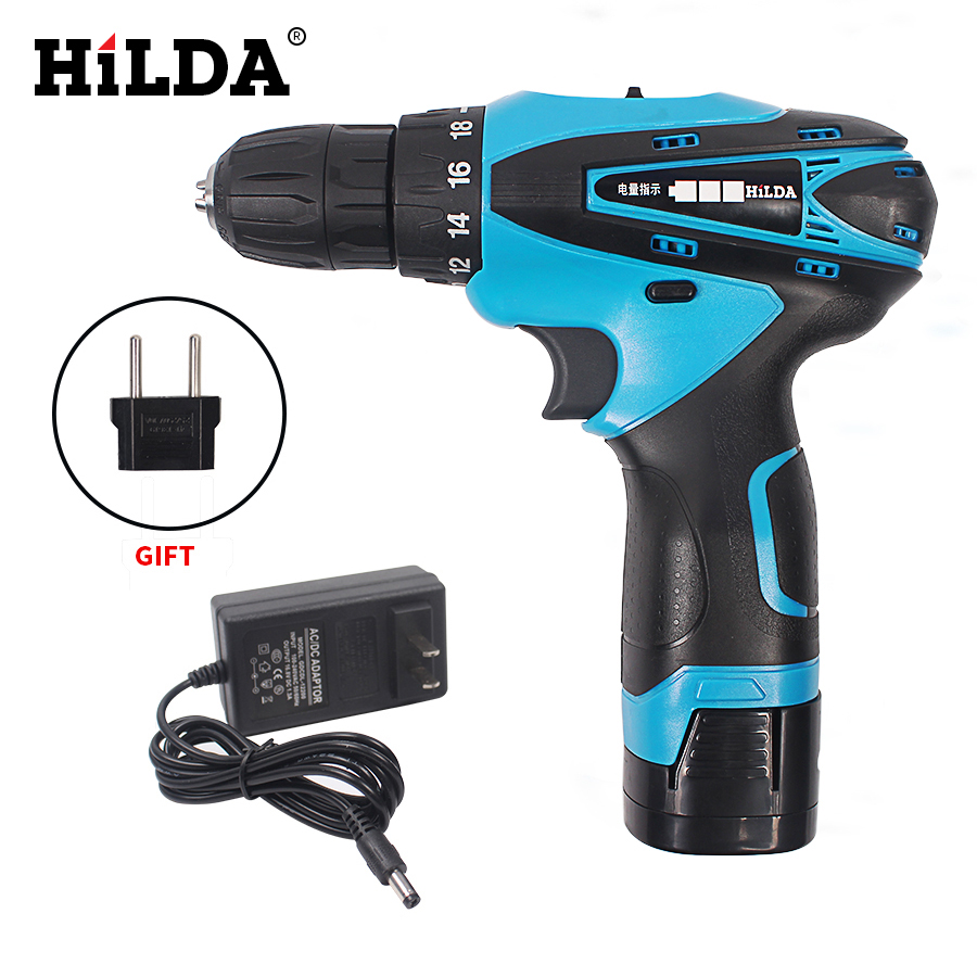 купить HILDA 16.8V Cordless Screwdriver Electric Drill Two-Speed Rechargeable Lithium Battery Waterproof Hand Multi-function Power Tool недорого