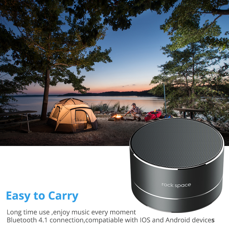 Rockspace S11 Portable Bluetooth Speaker Strong Sound Metal Subwoof With Mic TF card FM radio AUX music play Loudspeaker
