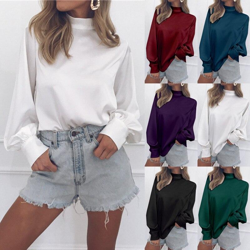S-2XL women turtleneck long sleeve shirts autumn spring lantern pure color tops shirt